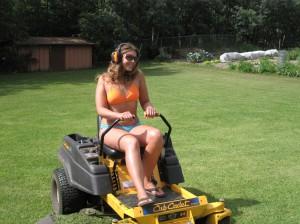 Sister... lawn mower bikini girl